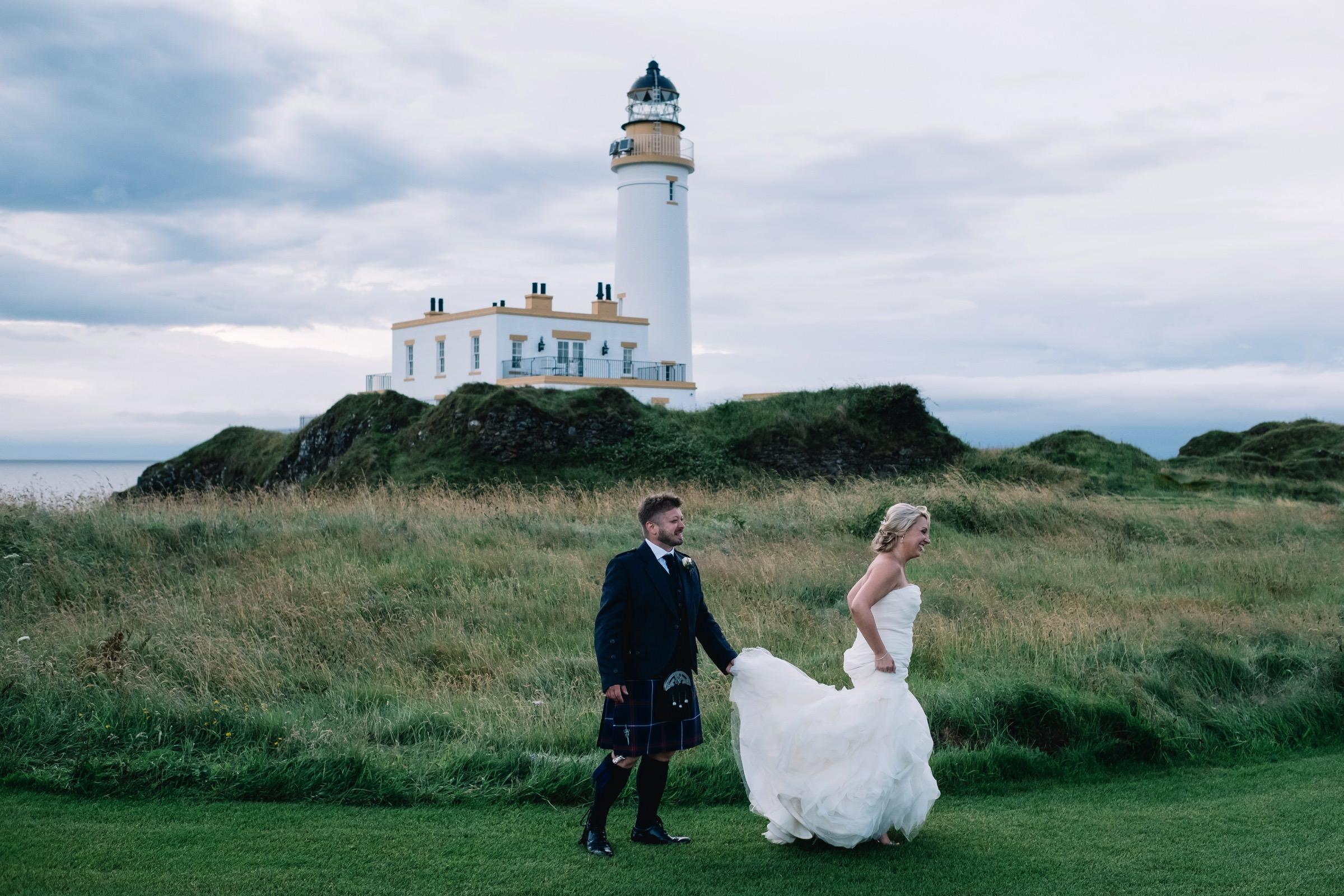 Bride and groom walk