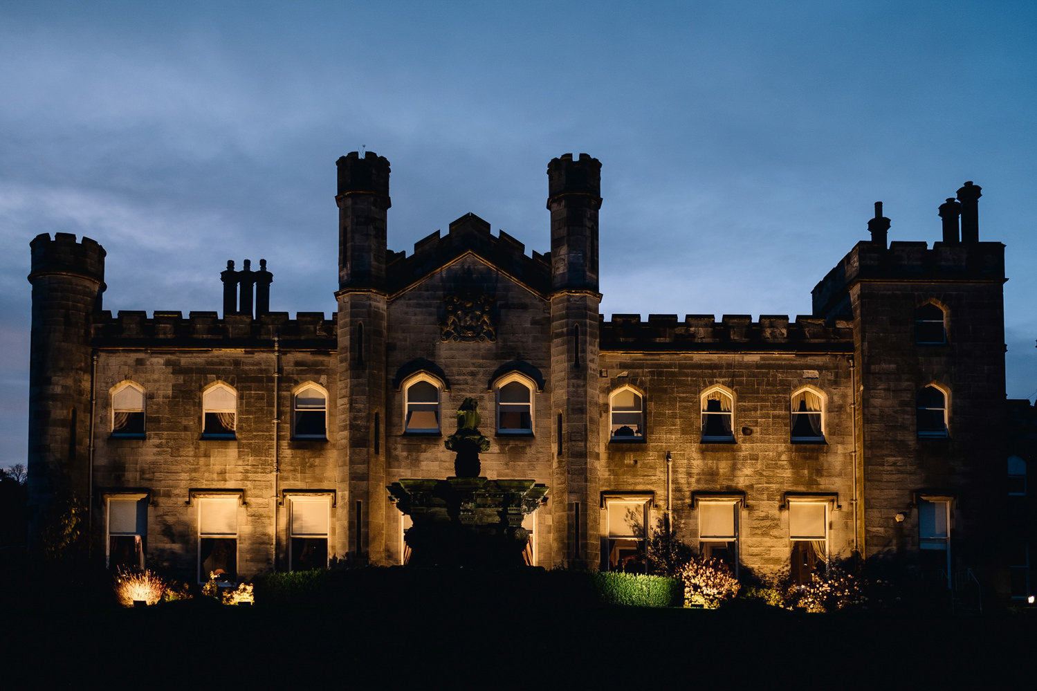 Dundas Castle at night on a winter's wedding evening