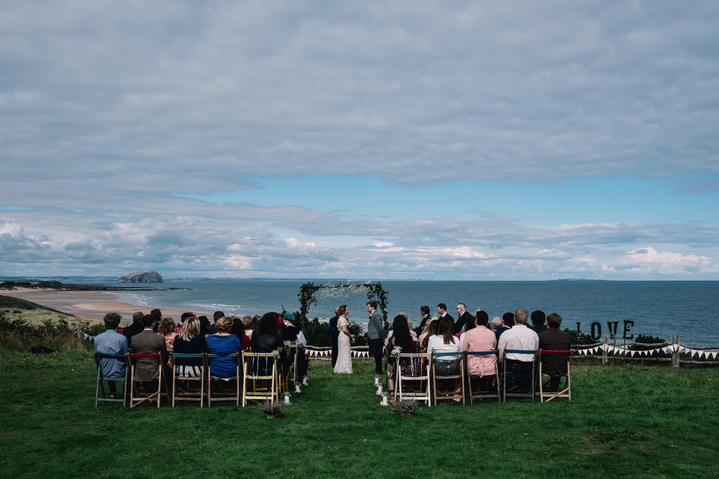 outdoor ceremony at Ravenshuehg Log Cabin