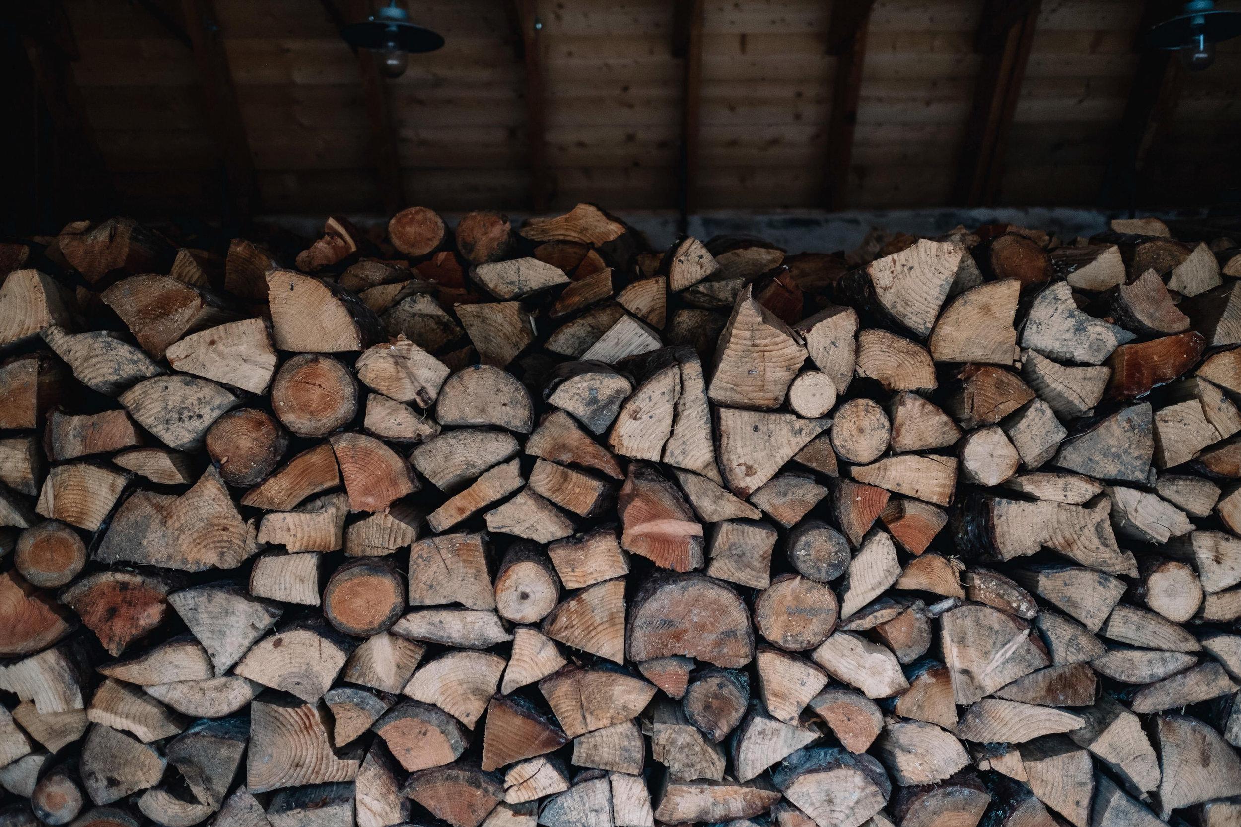 Wood pile for Killiehuntly Farmhouse and Cottage.