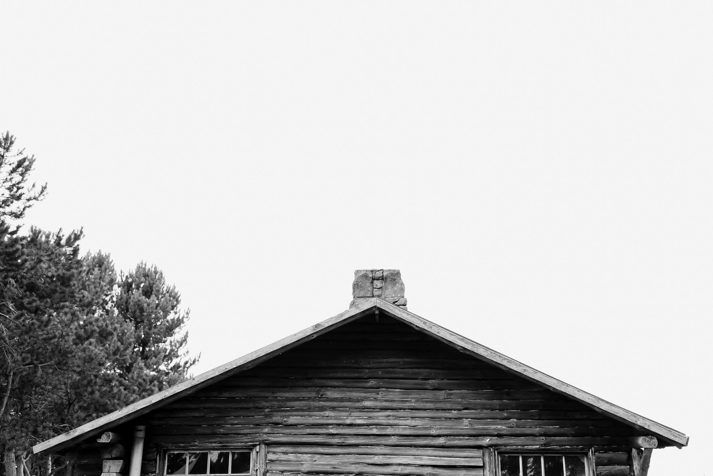 Black and white photo of the top of the log cabin
