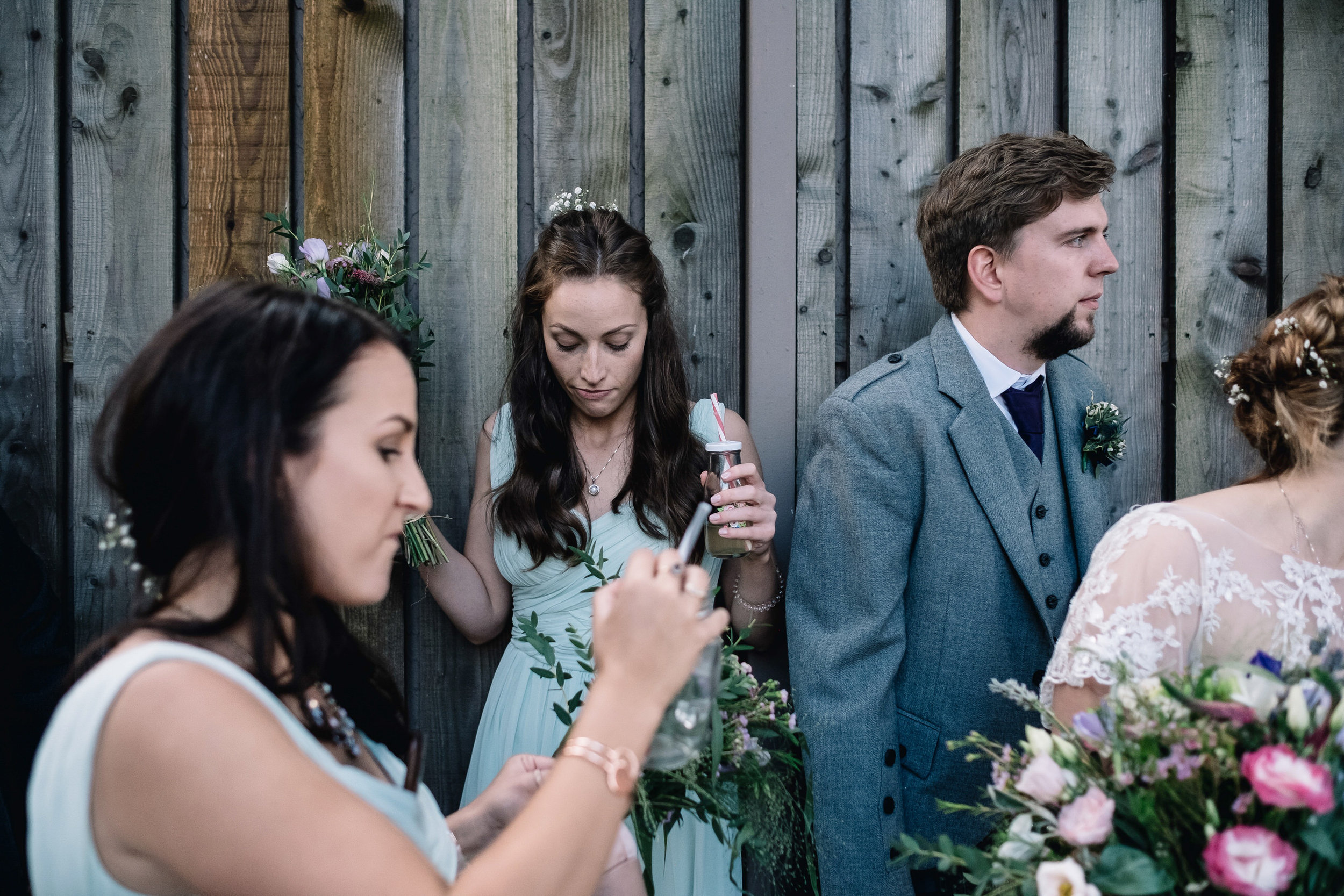 Bridal party interacting during portraits