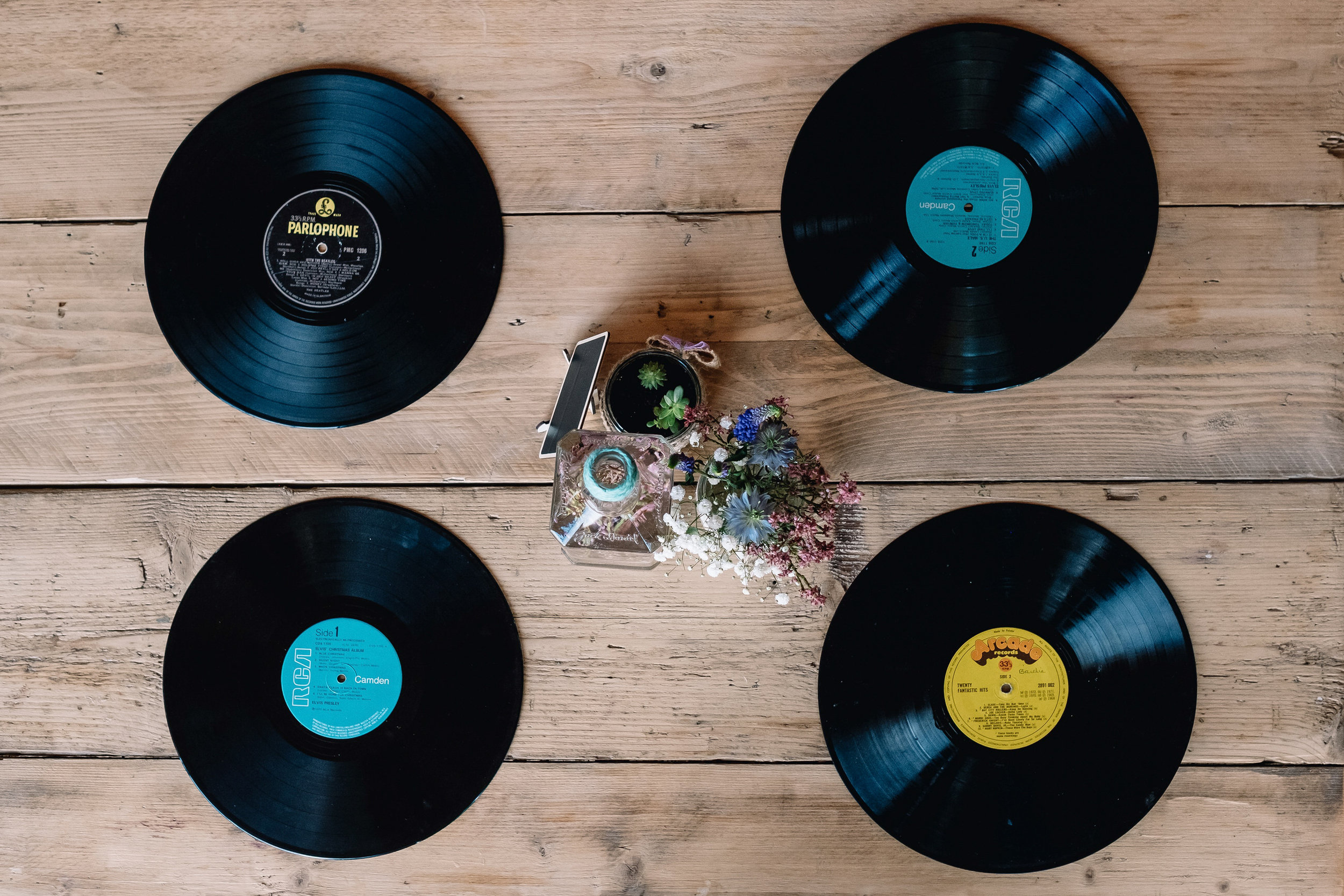 Table settings of vinyl records