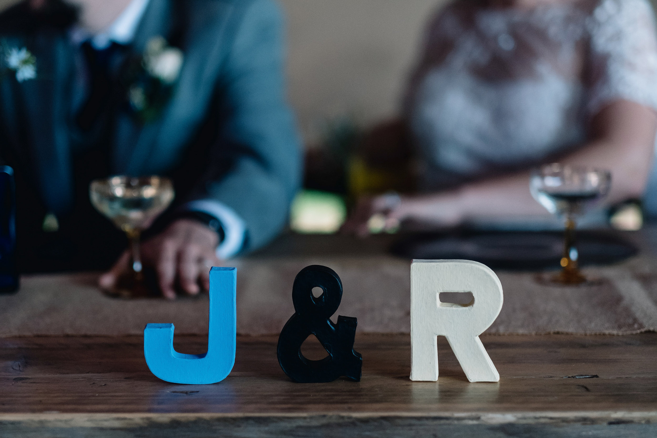 Initials of the bride and groom at the top table.