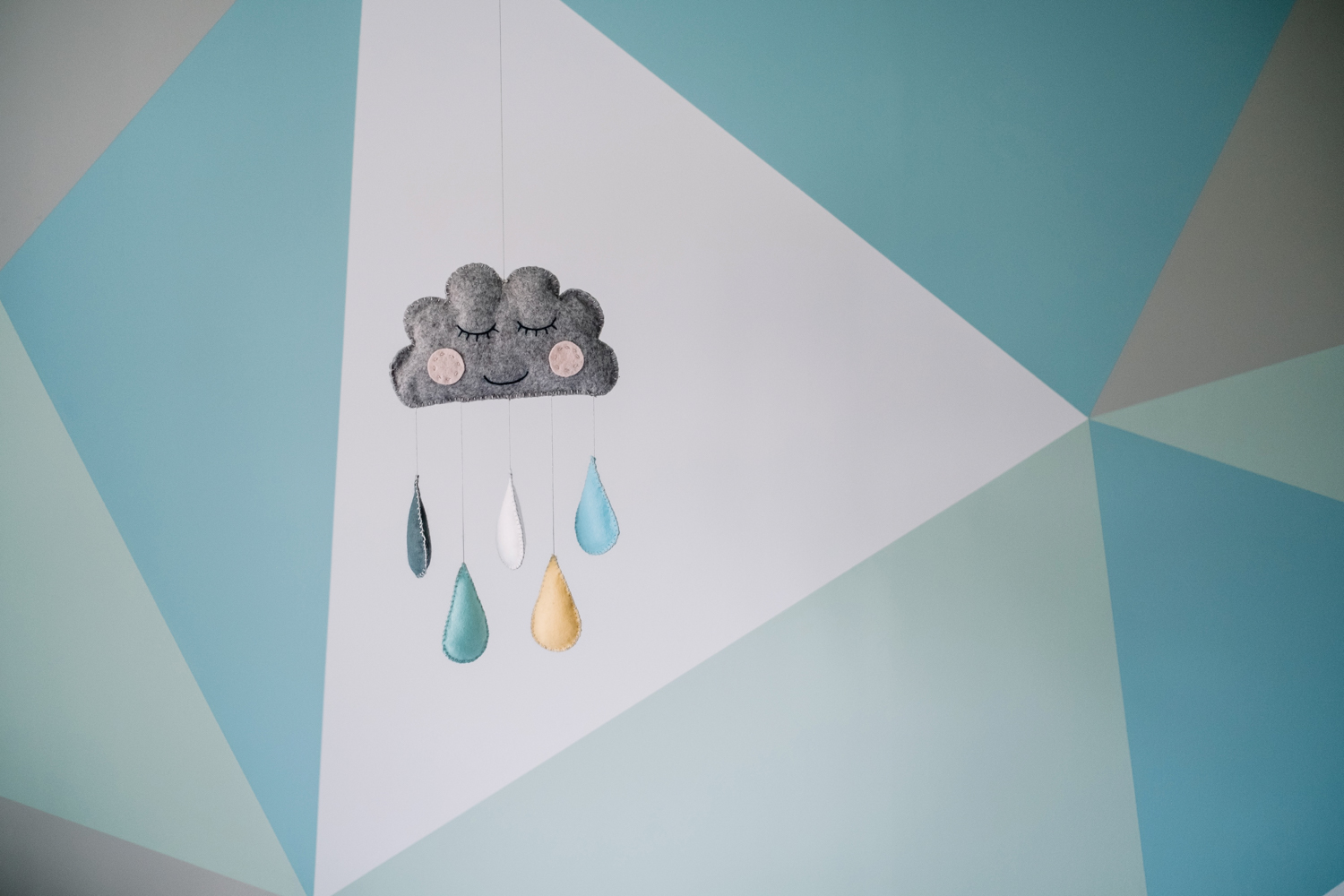 Home-made cloud mobile.