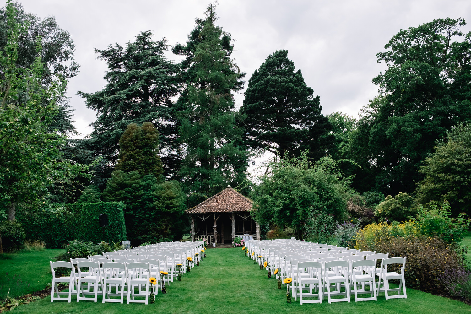 Chairs are organised for the outdoor ceremony at Errol Park in Perthshire.