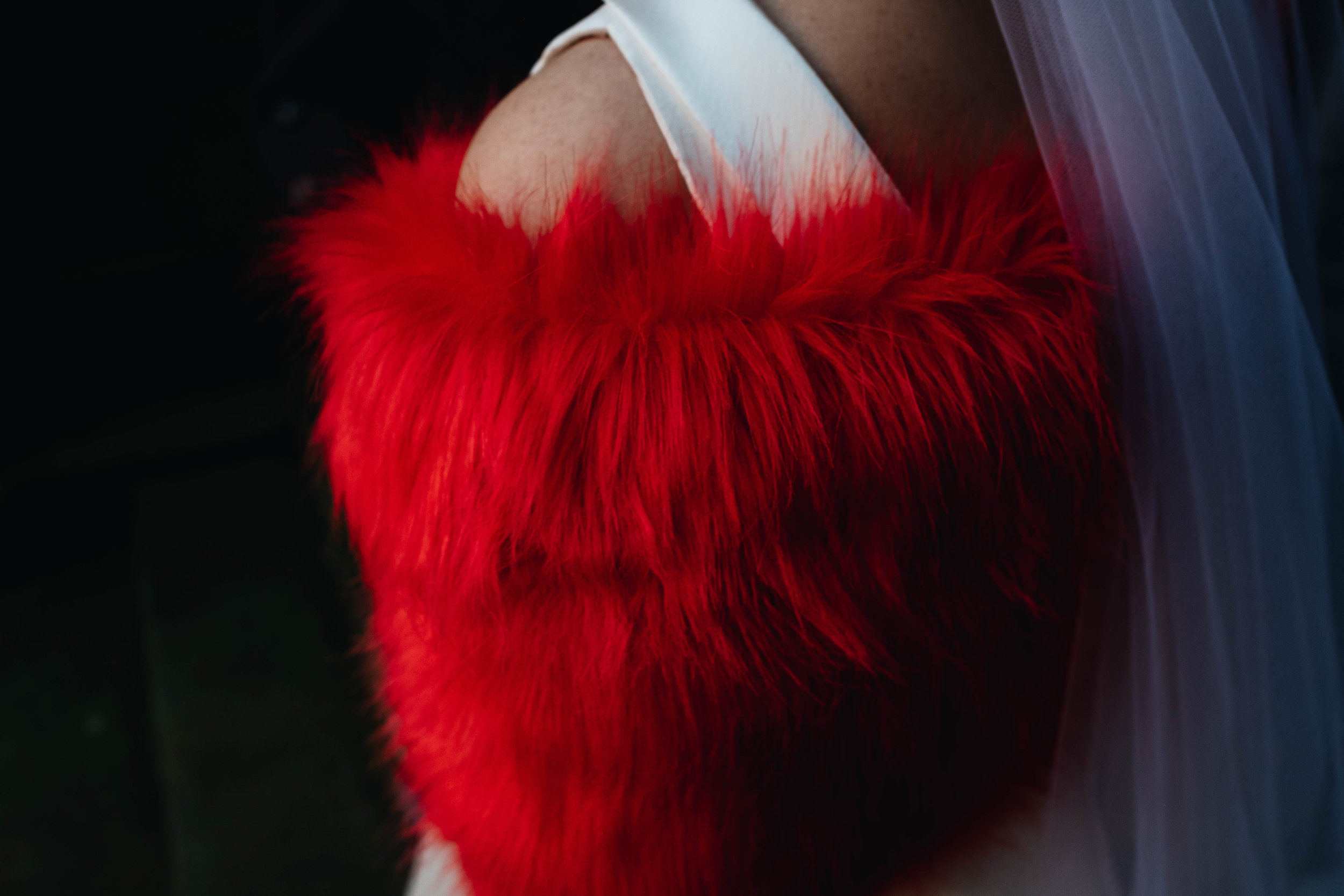 bride red bridal shawl