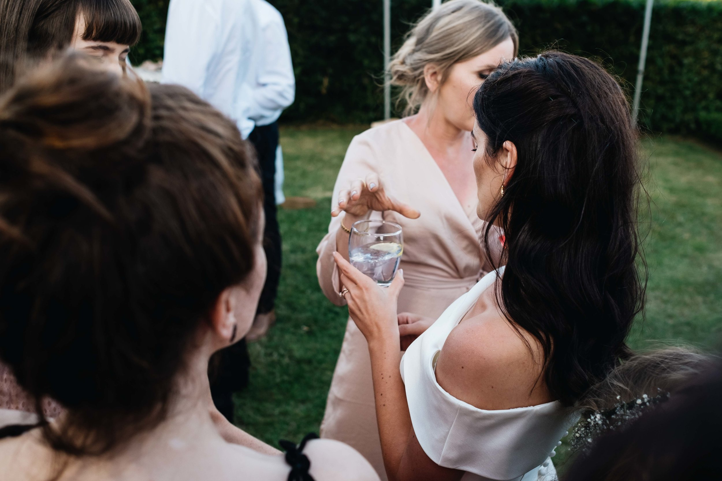 bride holding a glass