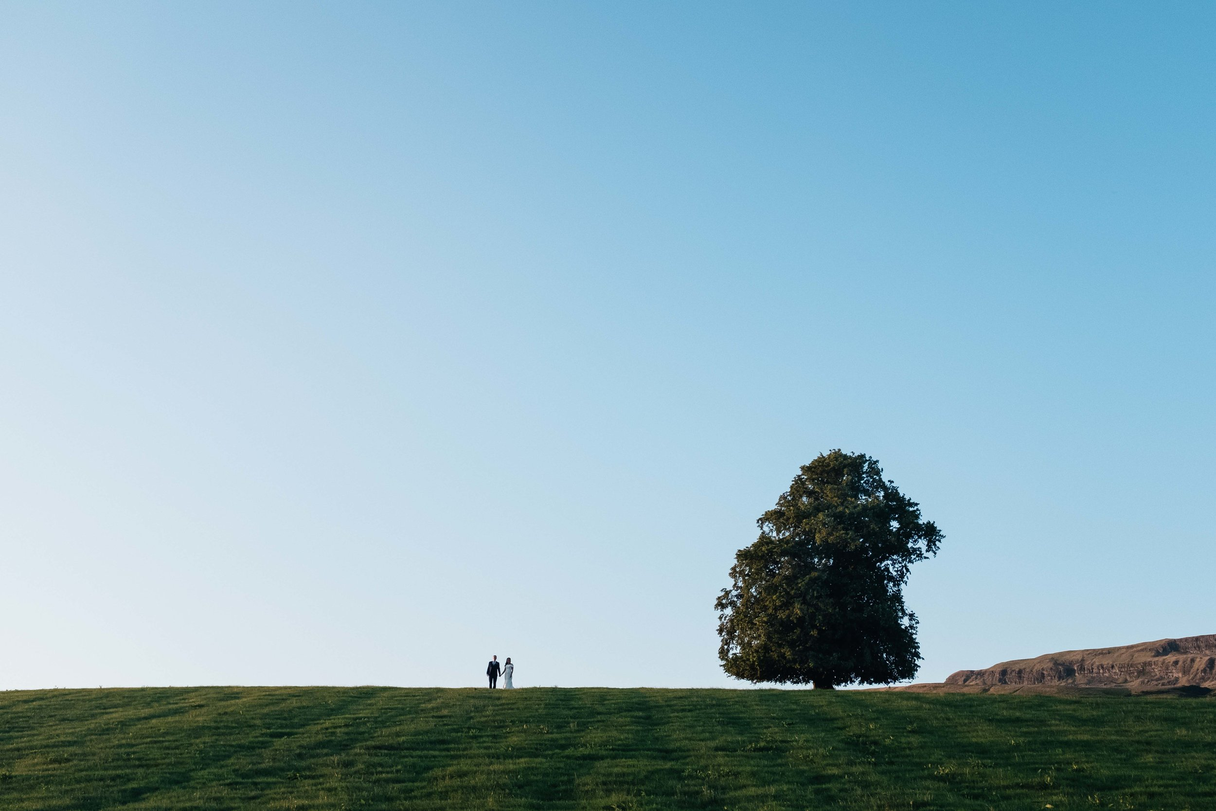 bride and groom at the top of a hill