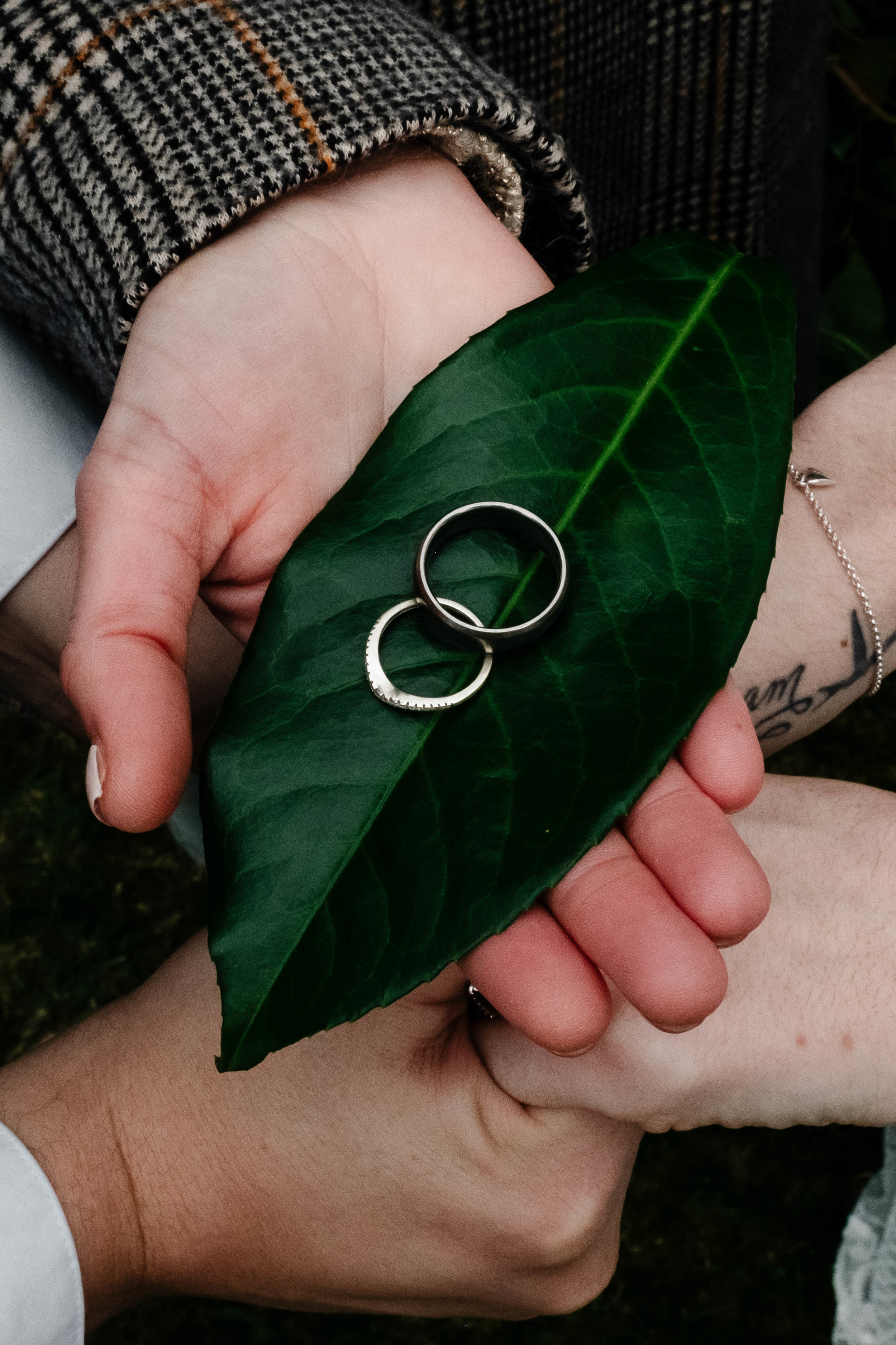 celebrant holding the bride and groom's rings on a leaf