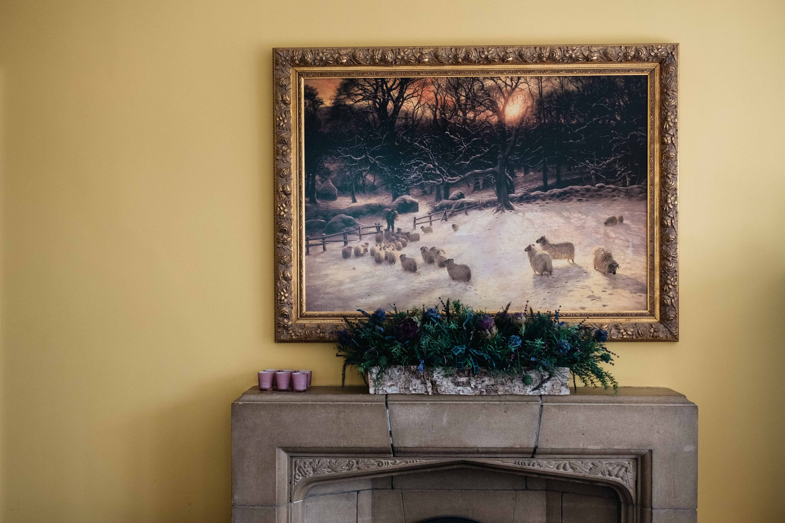 Gold framed photo of a winter country scene in Altskeith House