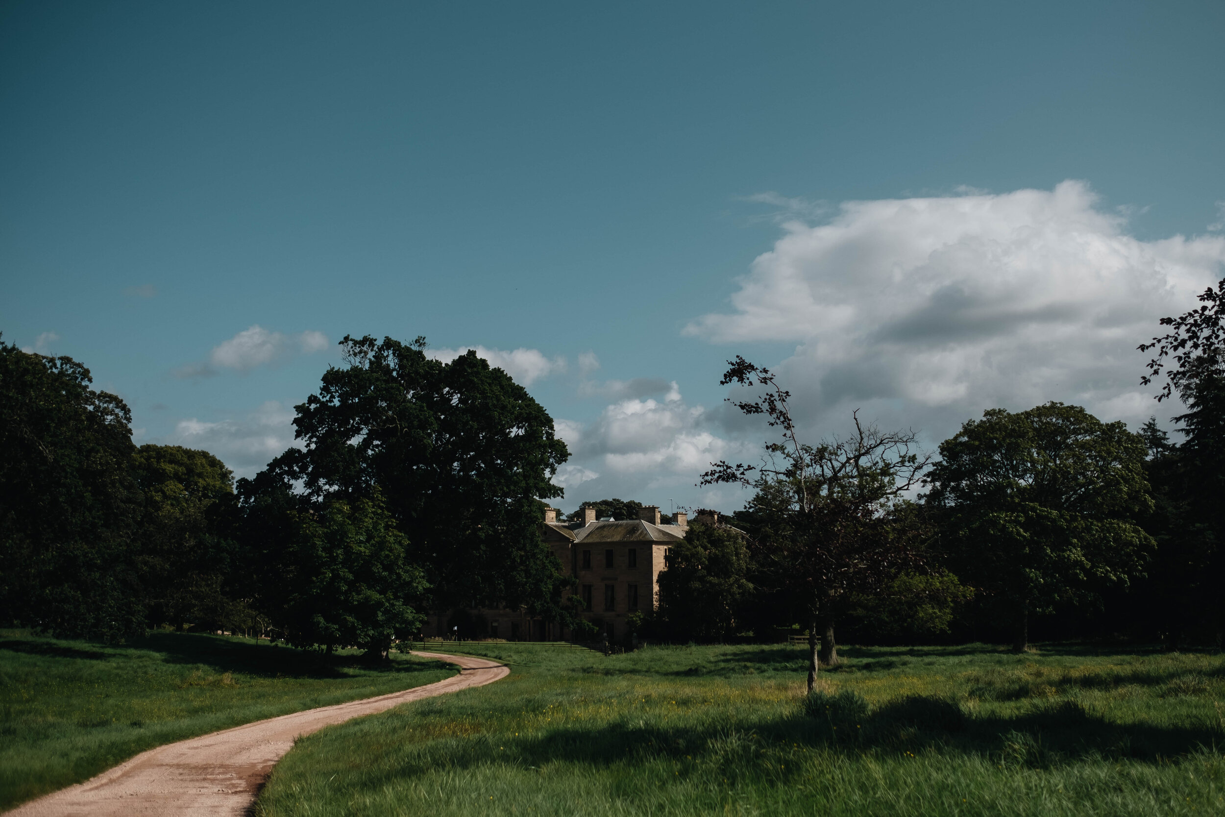 A photography of the drive way leading up to the main house of Cambo Estate.