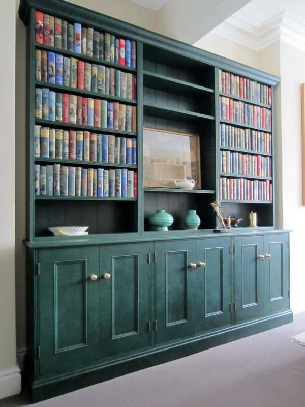 handmade bespoke bookcase with specialist paint finish
