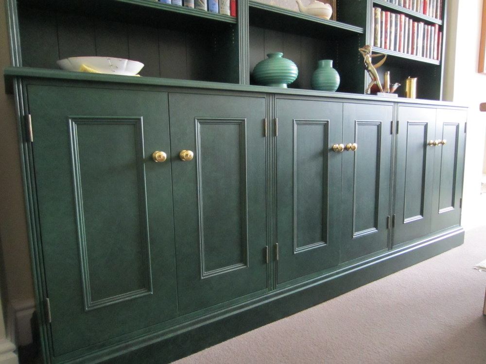 close up of specialist paint finish on bookcase