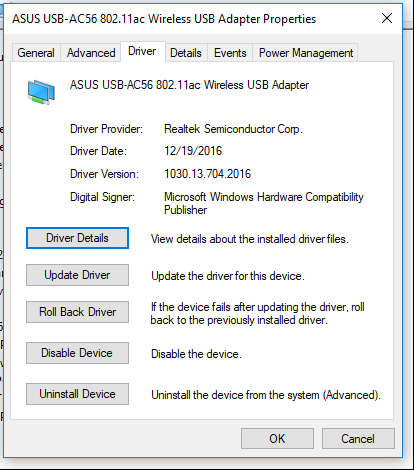 Screen shot of the adapter driver version after updating