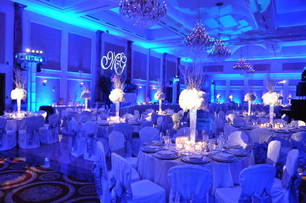 Blue and white uplighting with white pin spots