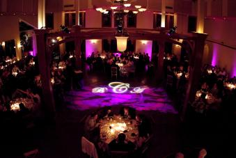 multicolored down lighting with monogram