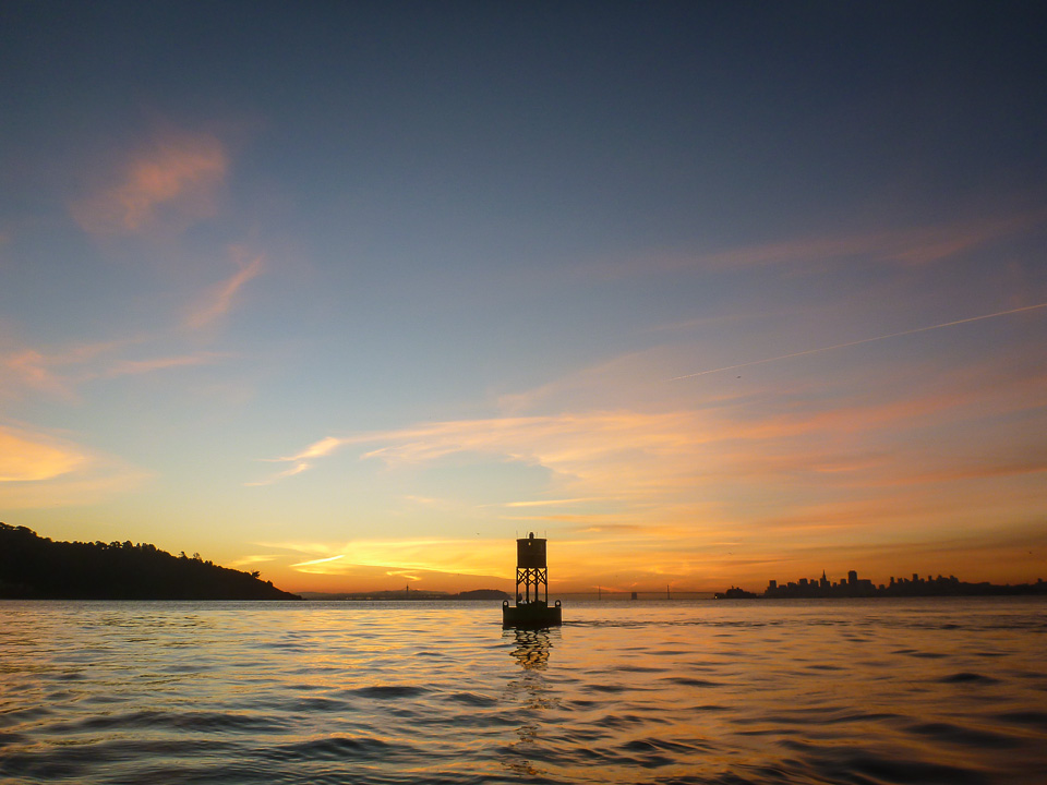 Centered.  Heading back from Angel, green buoy at Belvedere Point, 7:15 a.m.