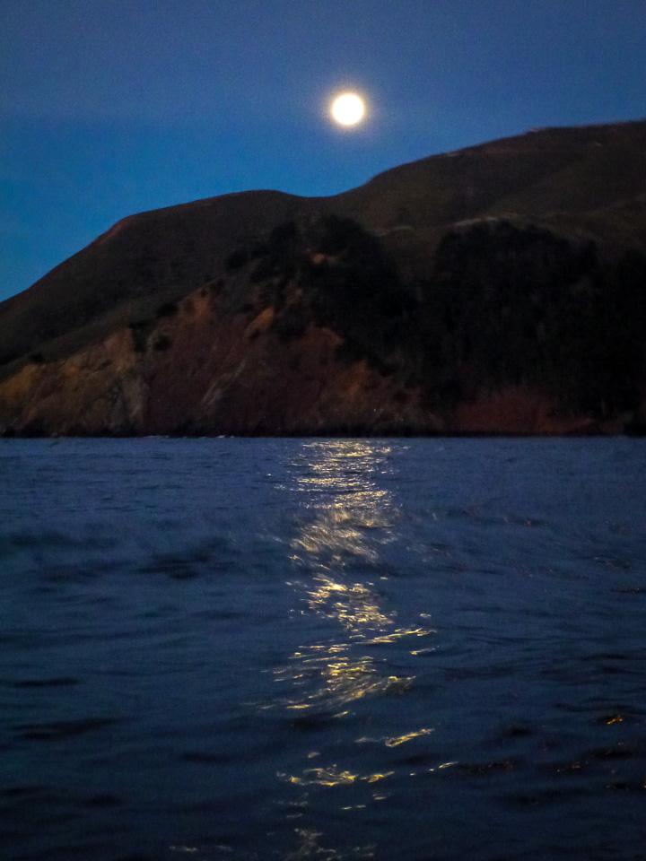 Monday, January 28, 7:01 a.m. Moon above Marin Headlands