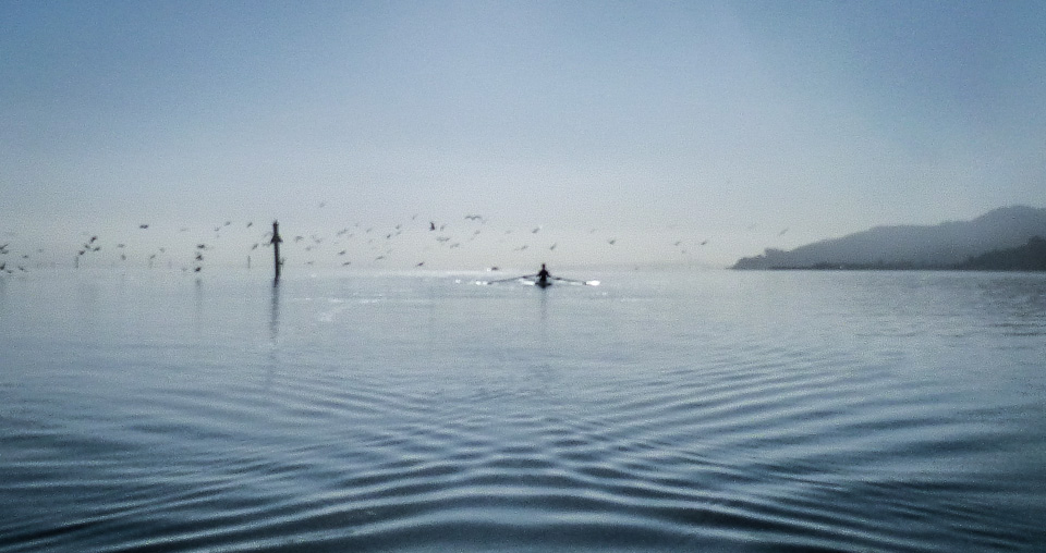 Sunday, February 17, 2013, 9:30 a.m. - Lucy Arnot's maiden voyage out into the bay from  Marin Rowing  Association