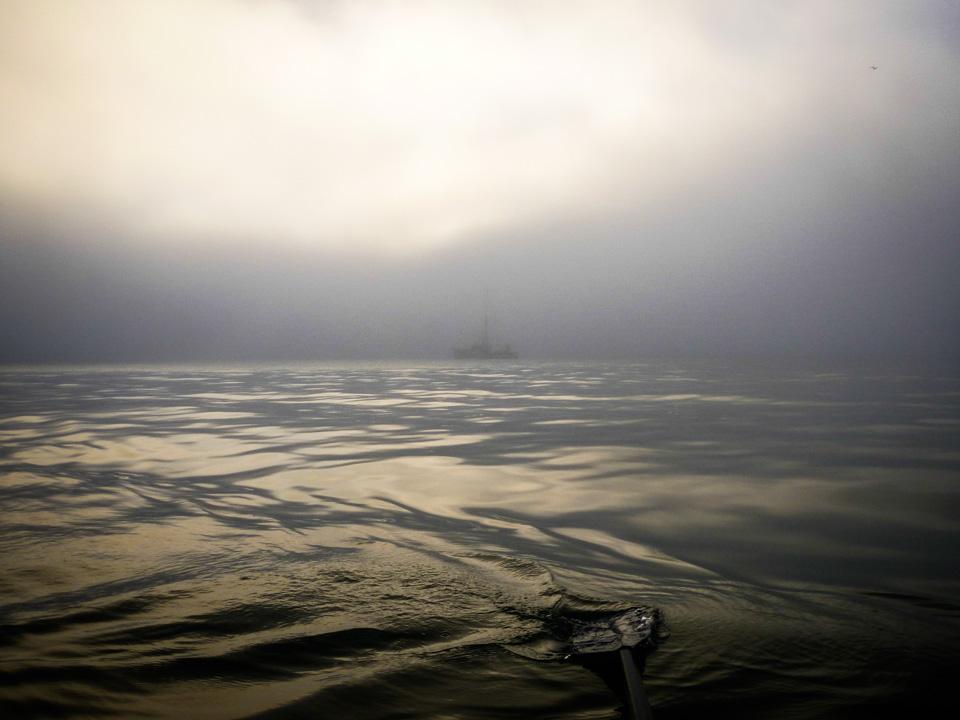 Ghost ship & oar, June 27, 6:37 a.m.