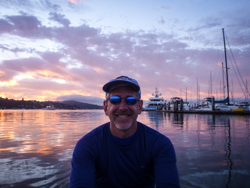 Stefan Benton humoring me as I take another photo on the bay. Sunday, Aug. 17, 6:30 a.m.