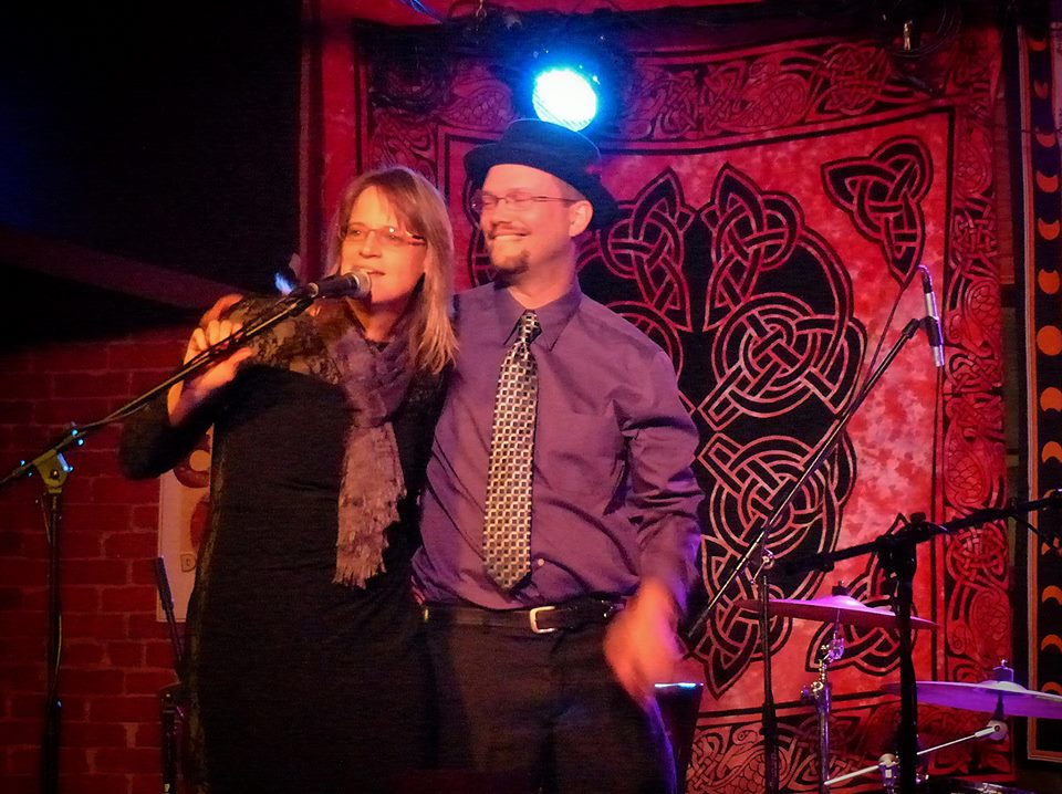 "Rachel and Bryon Dudley, aka ""Rat"" and ""Buzz,"" at DG's Tap, Ames, IA. Photo by Roger D. Feldhans, January 4, 2014."