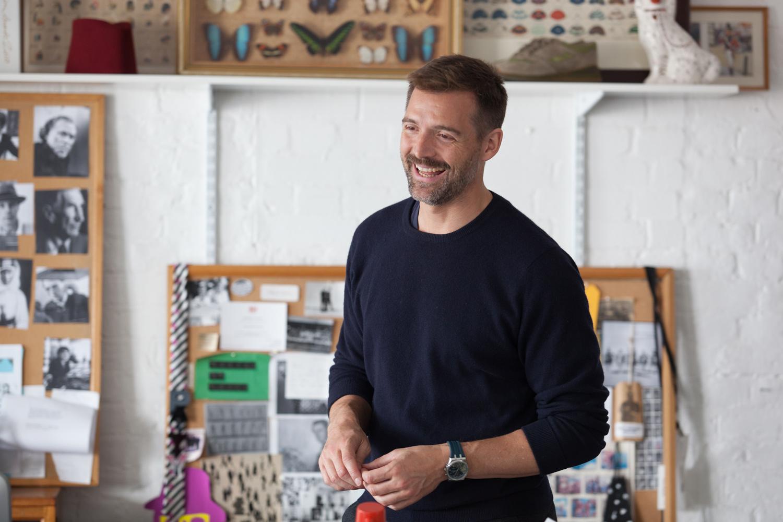 Patrick in his design studio in Wapping