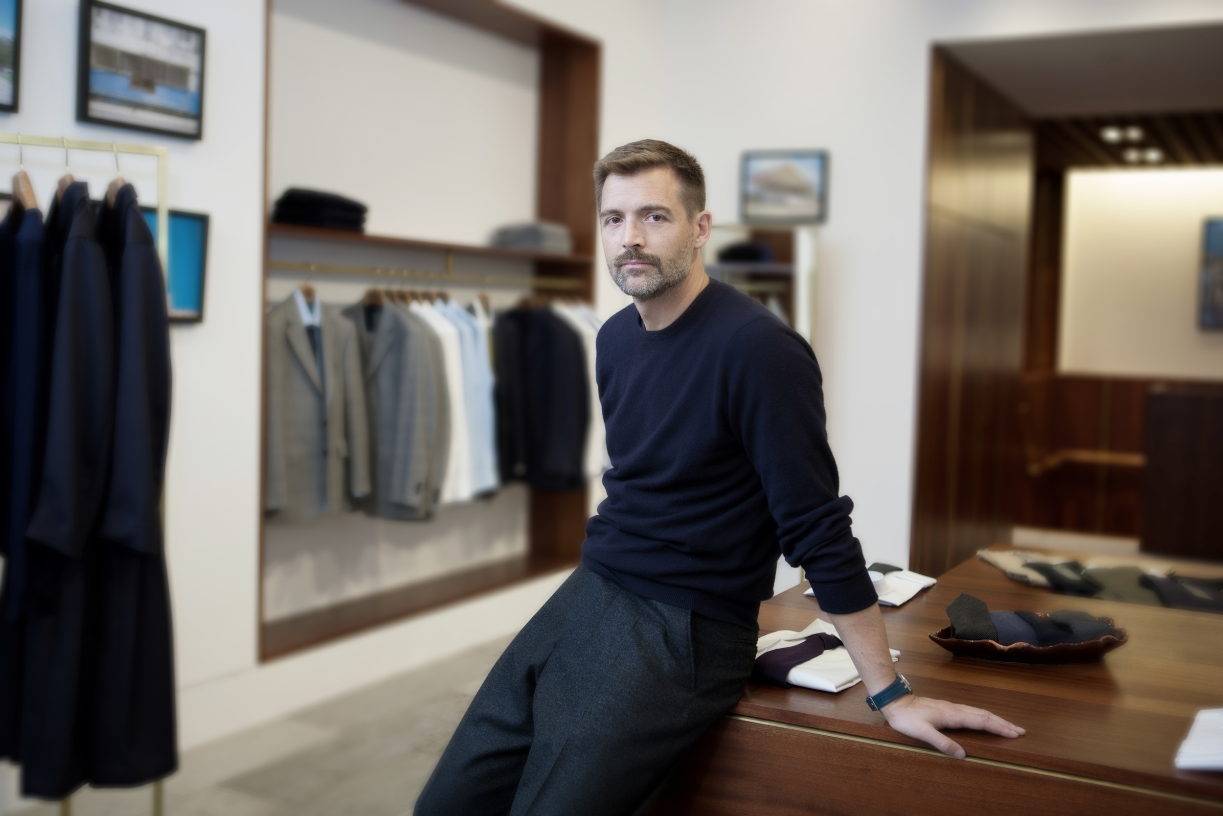 Patrick Grant shot in his E.Tauz and sons in London's west end