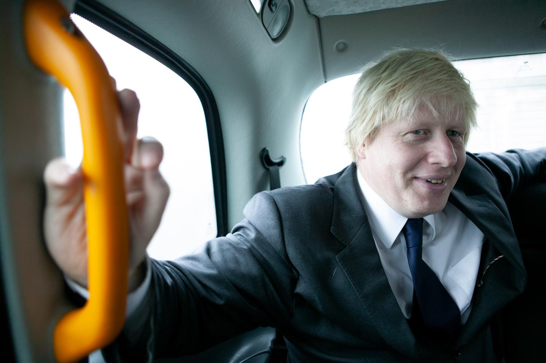 Boris Johnson in a taxi for You magazine