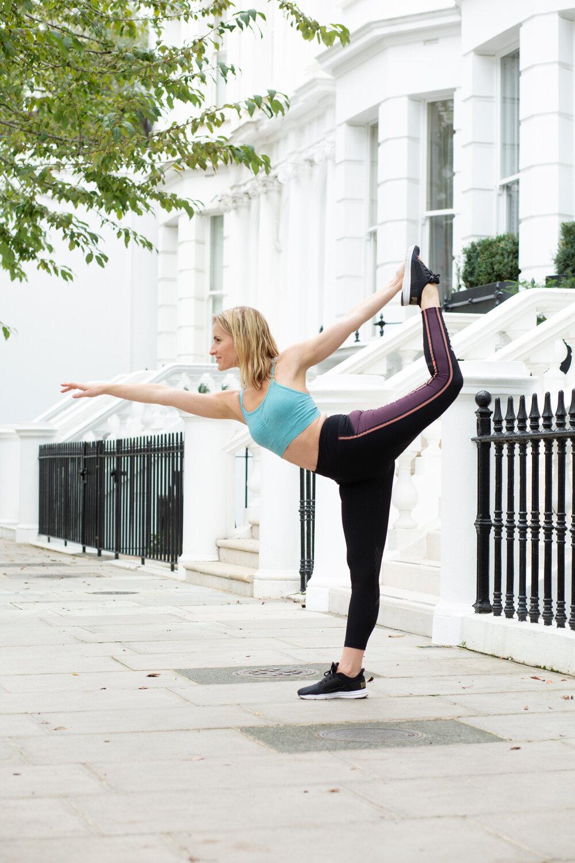Jocelyn striking Yoga pose