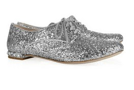 Miu Miu Glitter-finished leather brogues, $650