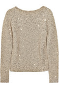 Oscar de la Renta silk & sequin cotten blend sweater