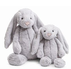 Jellycat's  Bashful Grey Bunny.  This London based company makes the softed pals.