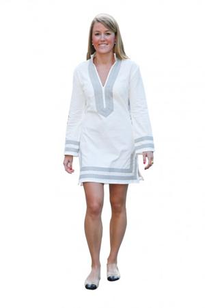 Winter white corduroy tunic with grey trim.