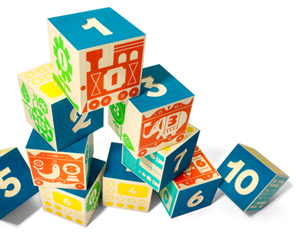 """Classic """"count & stack"""" blocks: encourage counting and color coordination while connecting a train or building a skyscraper."""