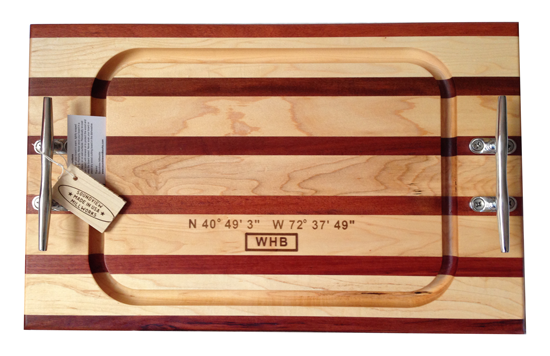 The gift: a personalized double nautical cleat cutting board from Soundview Millworks. I included the location (WHB) and waypoint (latitudeand longitude) for the church where the wedding took place.