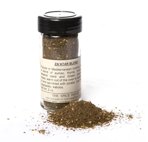 Za'atar: a mixture of sumac, sesame seed and herbs frequently used in the Middle East and Mediterranean areas.