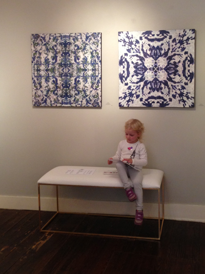 Art is for everyone. Especially at The Drawing Room. My daughter and I recently stopped by to check out Repetition, which will be on display through November 12th. The two works behind my daughter are by Heidi Lewis Coleman.