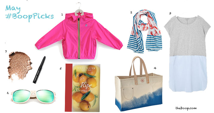 1. K-Way kids packable jacket . Waterproof, kid-proof, simply awesome. Style shown:$42.  2.  Gretchen Scott Lobster Fest Pareo . Tuckernuck, $48.  3.  Cos contrast jersey dress . Easy + Breezy = summer perfection.  4.  Blu Kicks carry-all tote . When you need your bag to look like a vacation.$65 (sale price).  5.  Ripe: A Cookin the Orchard . A beautiful book about all thingsfruit by renownedBritish food writer, Nigel Slater.   6.  Ray-Ban Wayfarer .A hands down classic that looks good on everyone. Loving the new array of color options, especiallythis tan/green combo.  7.  Bobbi Brown Long Wear Cream Shadow Stick.  Pink Gold (shown)is the perfect summer color, hands down. IMHO. By my count there were 19 shades in all.$29.