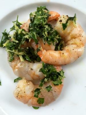 Atop grilled shrimp.