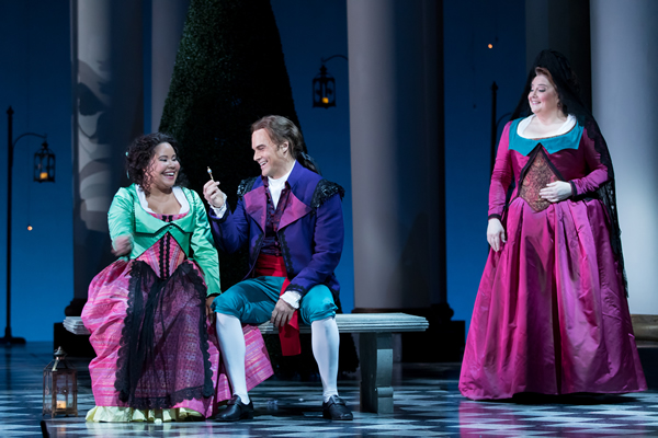 Ariana Wehr (Barbarina) with Ryan McKinny (Figaro) and Elizabeth Bishop (Marcellina) in Washington National Opera's 2016 production of Le Nozze di Figaro.  Photo Credit: Scott Suchman.