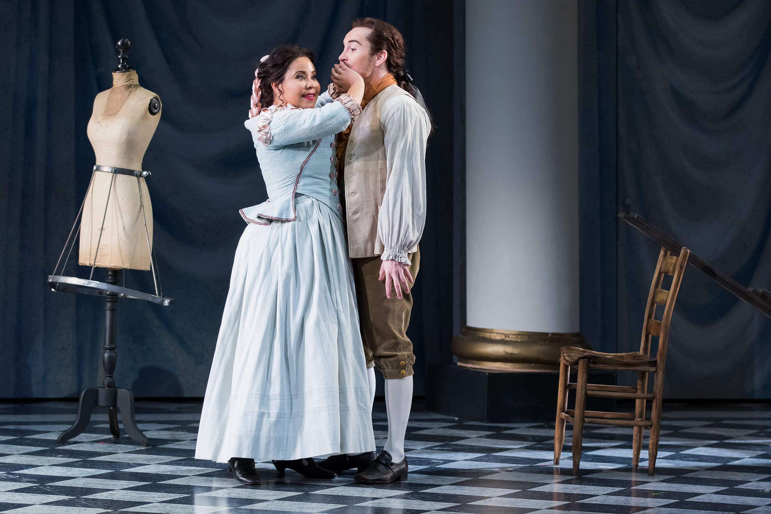 Ariana Wehr (Susanna) with Andrew Bogard (Figaro) in Washington National Opera's 2016 Emerging Artist Performance of Le Nozze di Figaro. Photo Credit: Scott Suchman.