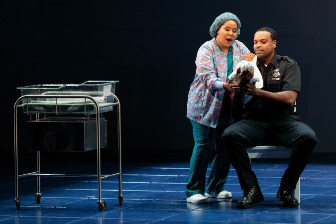 Ariana Wehr as the Nurse in Blue at The Glimmerglass Festival 2019 with Kenneth Kellogg (Father).   Photo Credit: Karli Cadel