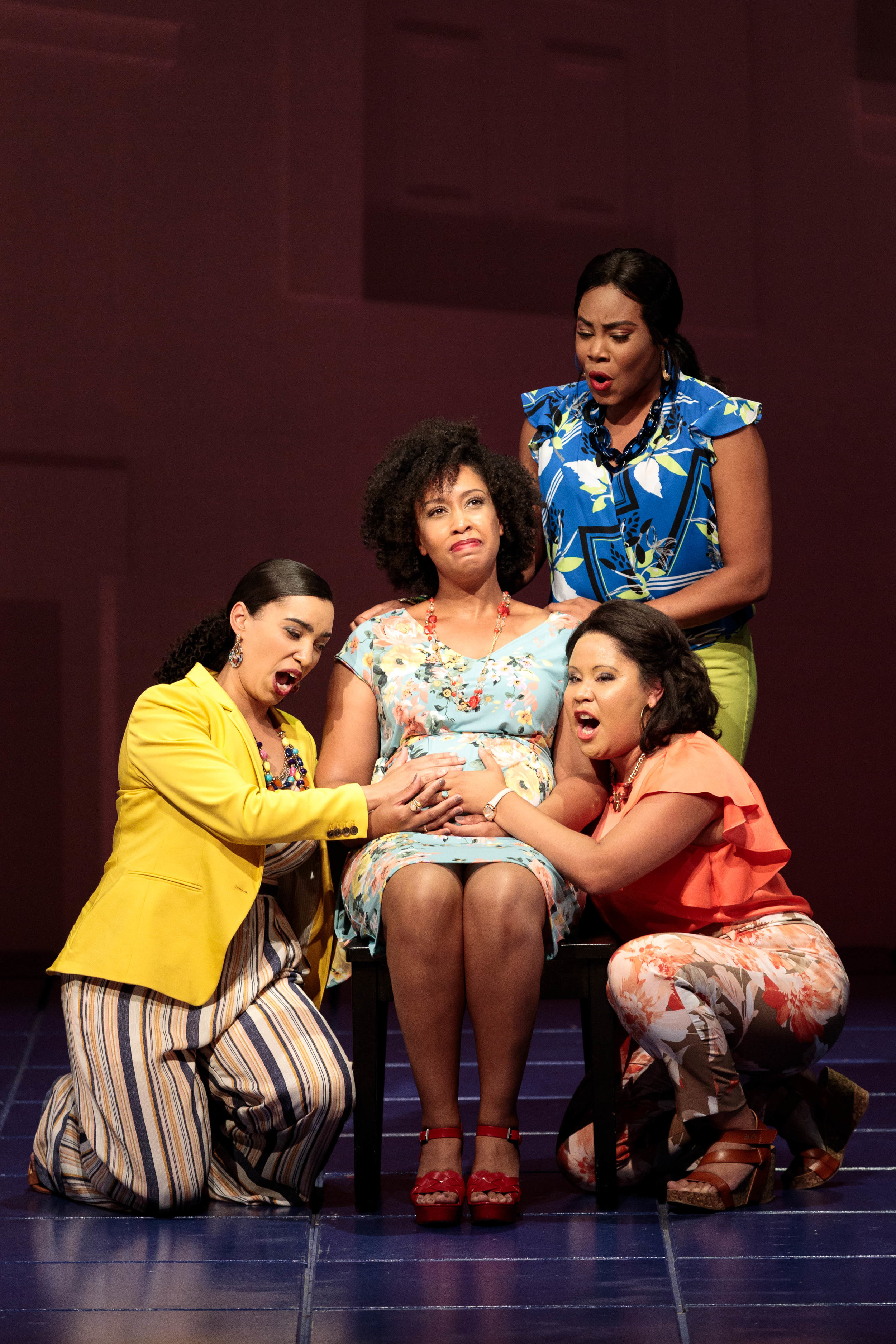 Ariana Wehr as Girlfriend 1 in Blue at The Glimmerglass Festival with Briana Hunter (Mother), Brea Renetta Marshall (Girlfriend 2), and Mia Athey (Girlfriend 3).    Photo Credit: Karli Cadel, 2019.