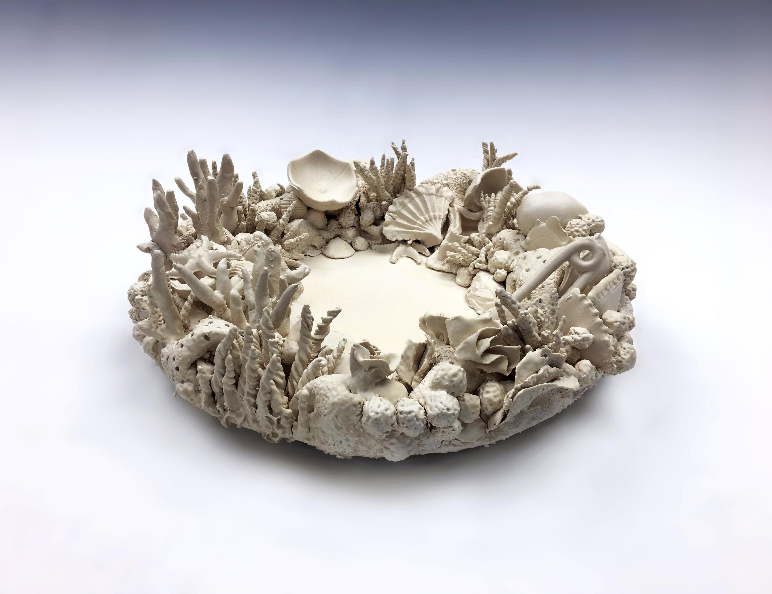 "Title: ""Rebirth"" ,  Medium: Porcelain Ceramic, Dimensions: 15"" x 15"" Diameter, Year: 2017"