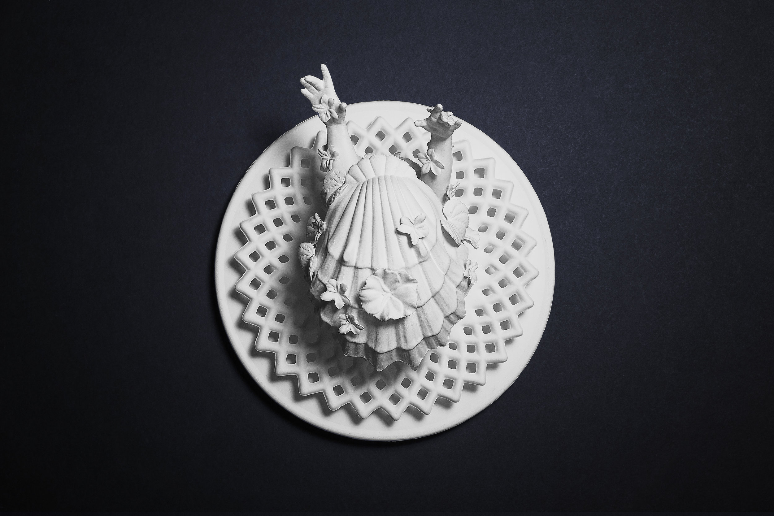 "The Death of Venus (We gon' be alright)  Medium: Slipped cast porcelain ceramic, hand build & altered forms Dimensions: 12"" diameter Year: 2019  Photography by: David Gary Lloyd"
