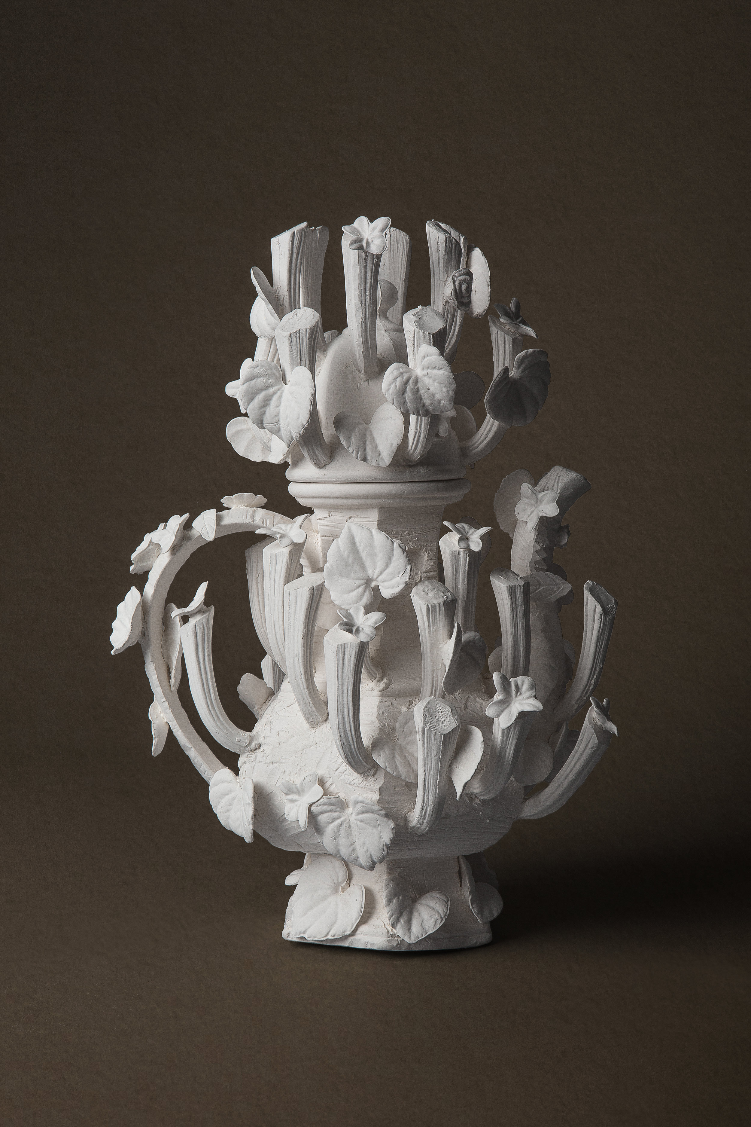 "Tea with the Queen (Reparations)  Medium: Porcelain ceramic with cast altered forms and hand built  Dimensions: 14"" x 7"" x 7"" Year: 2019  Photography by: David Gary Lloyd"