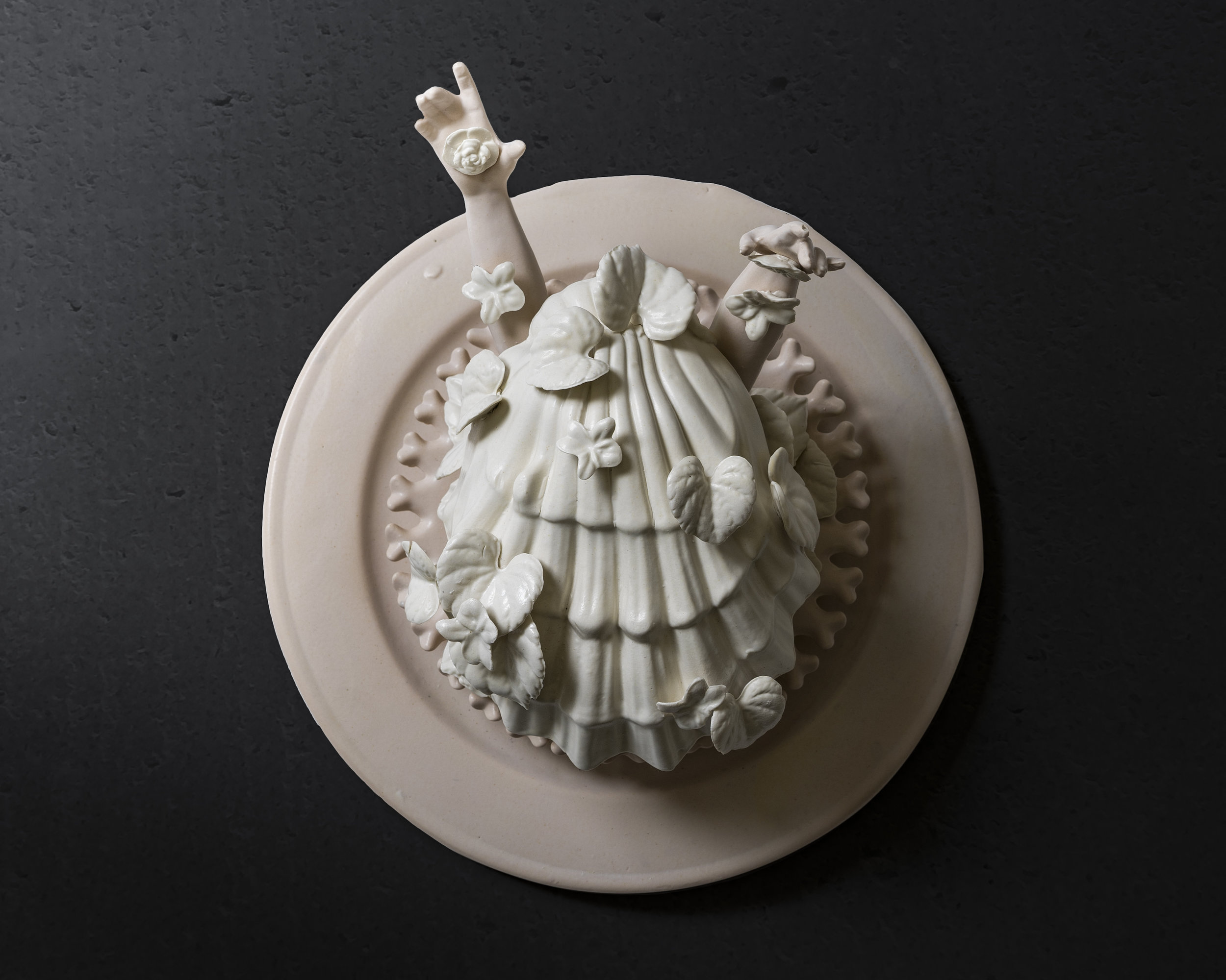 "Dancing with faith, thieves bloom in two shades of cream  Medium: Slipped cast porcelain ceramic, hand build & altered forms Dimensions: 12"" x 12"" x 7""  Year: 2019  Photography by: Pedro Wazzan"