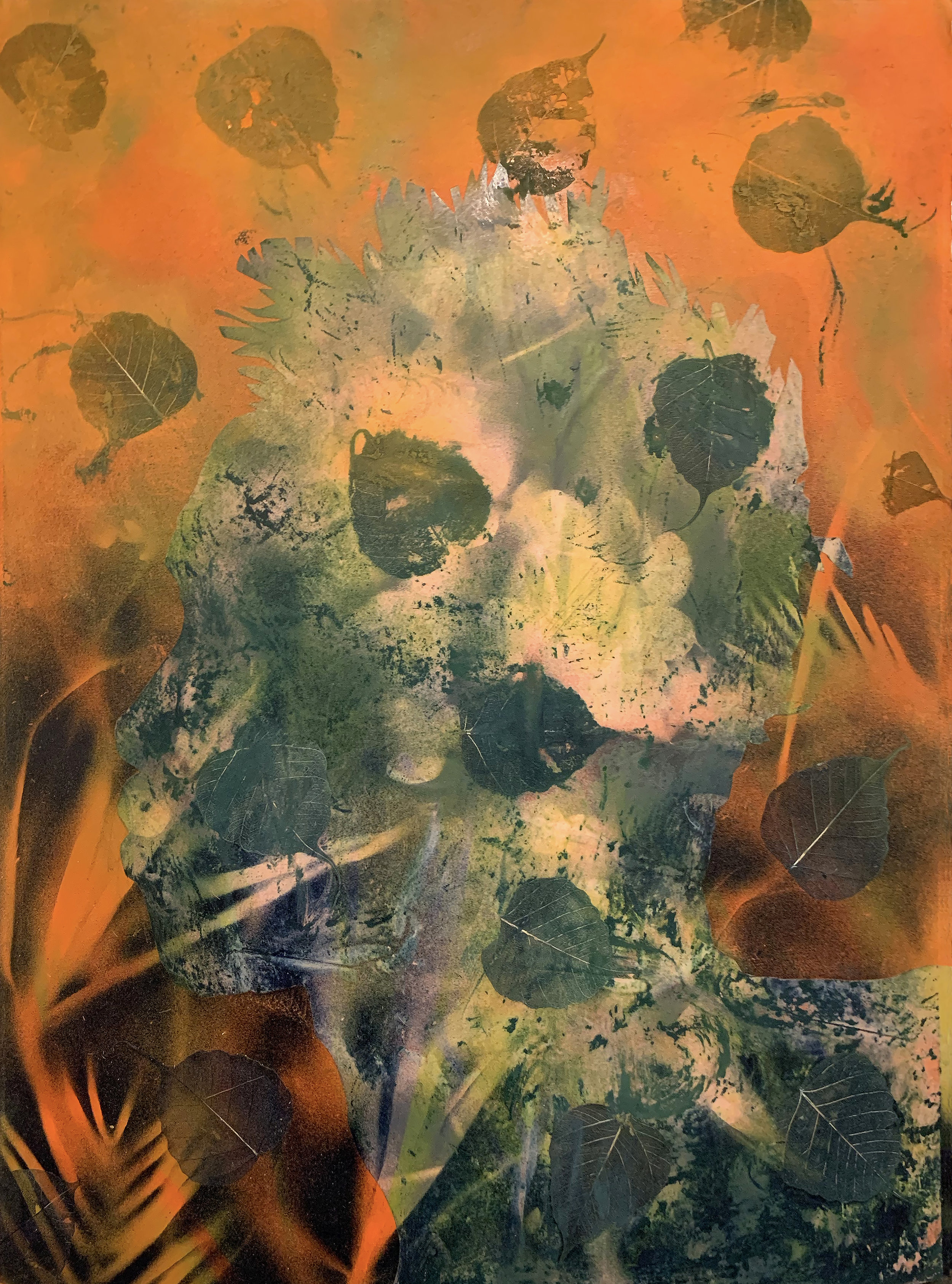 """Cane Sugar (I'm learning to love the parts of myself that no one claps for) Medium: Assorted Charcoal densities, mylar, aerosol orange & green, flora & fauna Dimensions: 22.5"""" x 30"""" Year: 2019"""